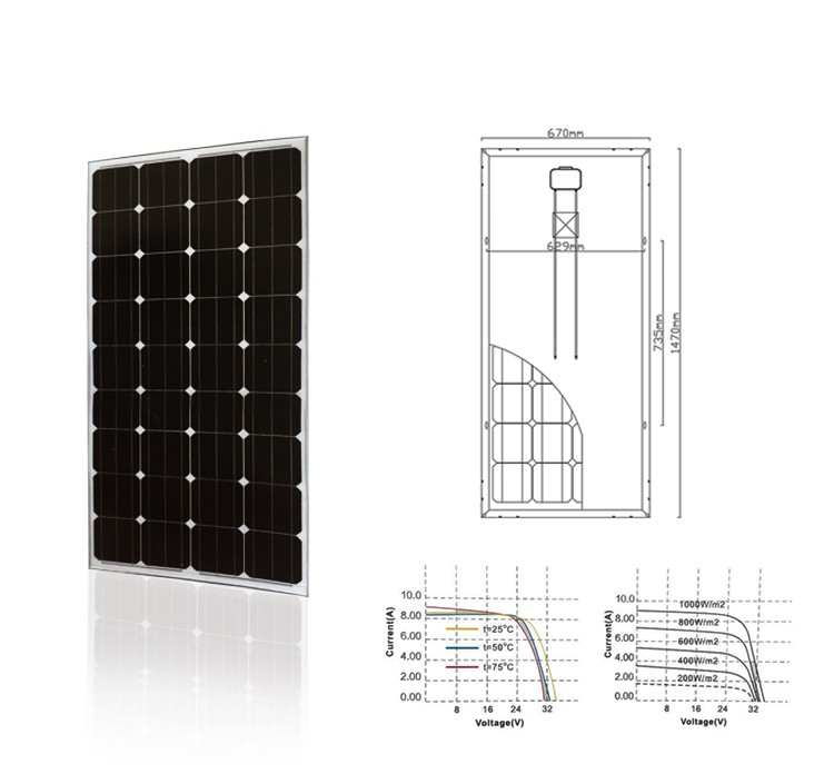 Factory sale directly mono 150 watt solar panel in household system
