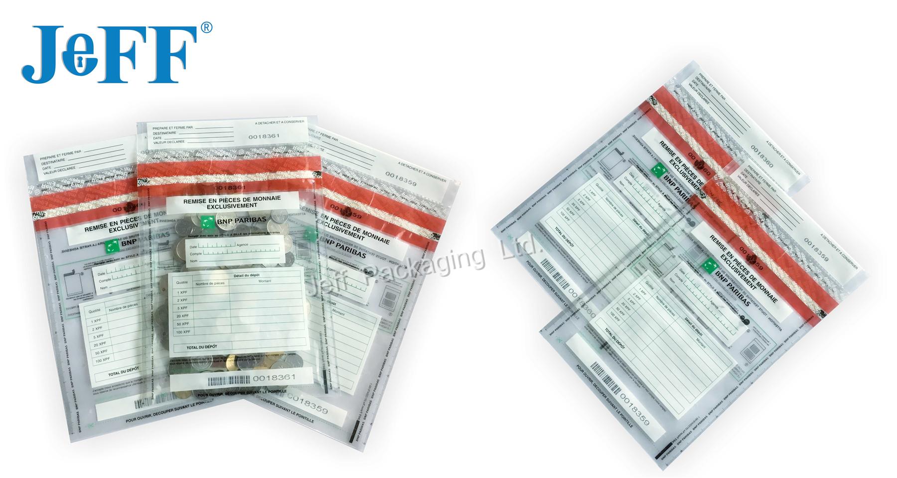 Transparent Plastic Security Money Bag/Deposit Bag