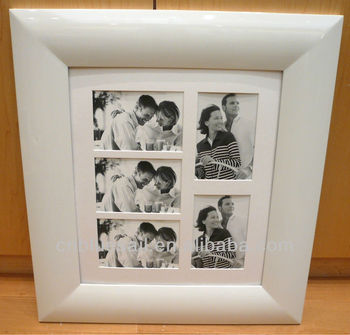16x16 Wood Gesso White Photo Framefive Collage With Mat Buy White