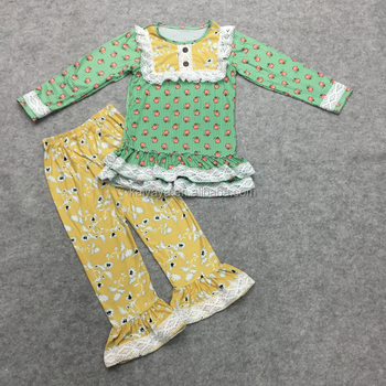 New Lotus Lace Printed Blouses Trousers and Children's Wear Wholesale High Quality Cotton Suits in Autumn and Winter