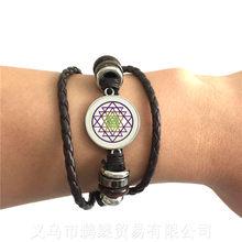 Индийские украшения в виде цветов удачи, модные религиозные мандалы, регулируемый браслет Zen Charms, стеклянный браслет из кабошона, подарок дл...(Китай)