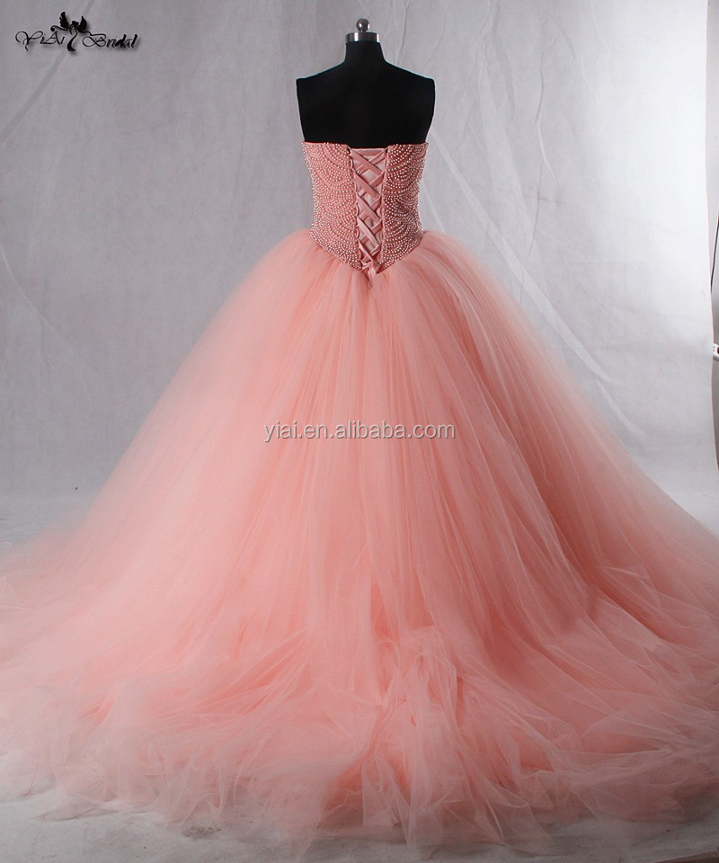 RSW942 Puff Ball Gown Princess Dresses Pink Coral Tulle Skirt Latest Bridal Wedding Gowns Pictures