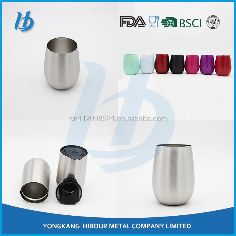 factory oem double wall stainless steel stemless steel stemless insulated wine glass, manufacture glass bottles for wine