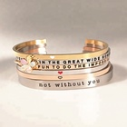 Wholesale Stainless Steel Motivational Message Custom Bangle Engraved Inspiration Bracelets