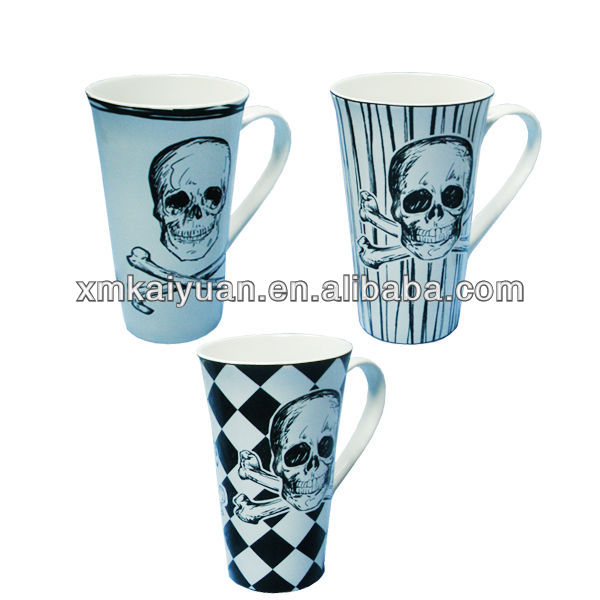 16oz skull shape decal stoneware halloween coffee mug