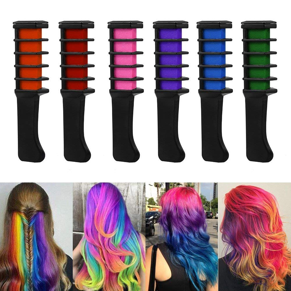 f0205055bce Get Quotations · WAHUK 6 pcs Color Hair Chalk Comb Shimmer Hair Dye Chalk  Comb Temporary Hair Color Cream
