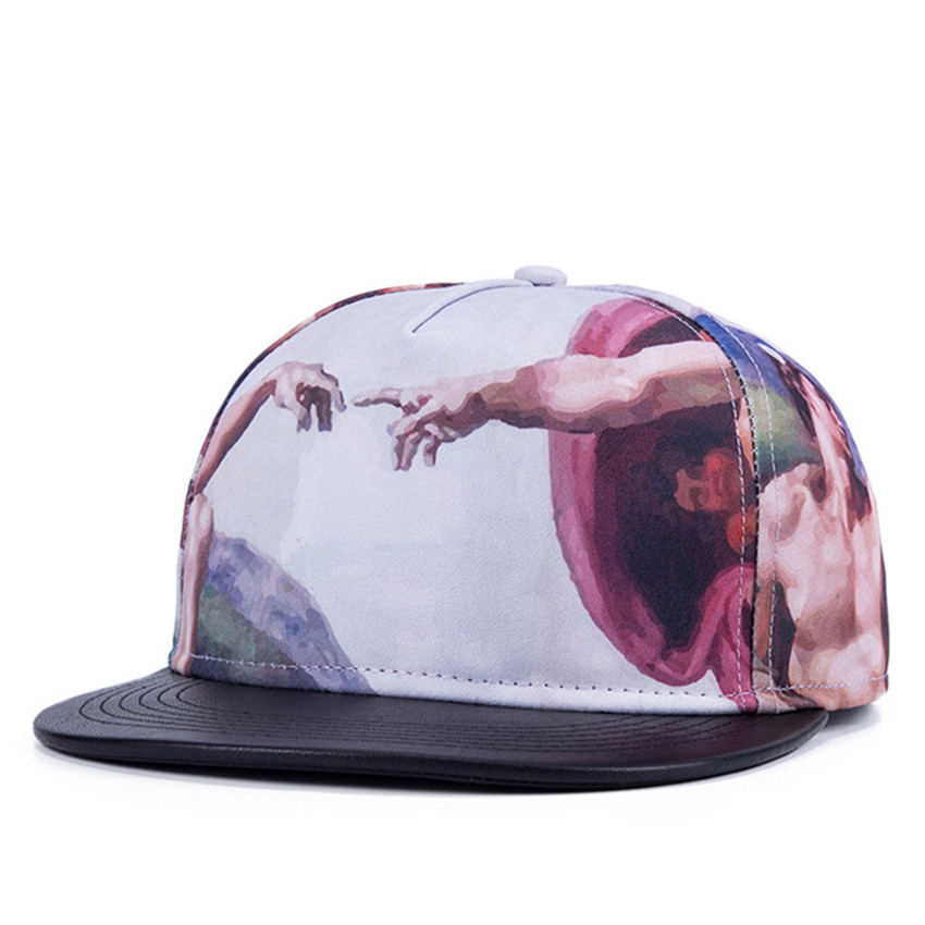Summer Style Snapback Gorras Hat Bon Flat Brimmed Baseball Cap 3D Print Abstract Paintings Adjustable Hip hop Trucker Bone Caps