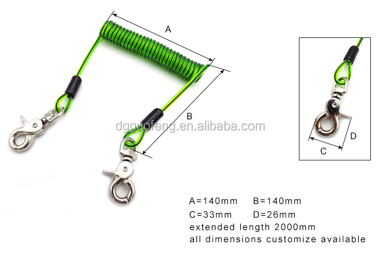 Multifunctional PVC Coated Spring Tool Lanyard SS316 Deep Sea Diving Tool Lanyard Water Pro Diving Stainless Steel Coil Lanyard