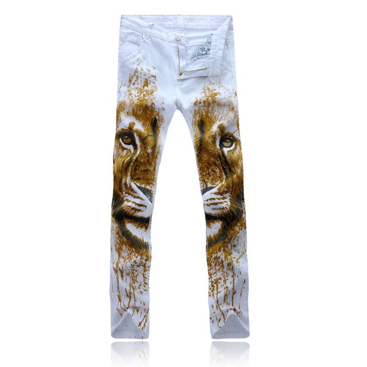 Приталенный мужские джинсы весна осень мужчины свободного покроя джинсы белый цветочный на молнии принт цветы хлопок деним брюки