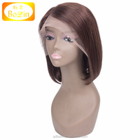 Bolin hair Bob style best selling Brazilian virgin front lace wig short natrual brown hair cuts