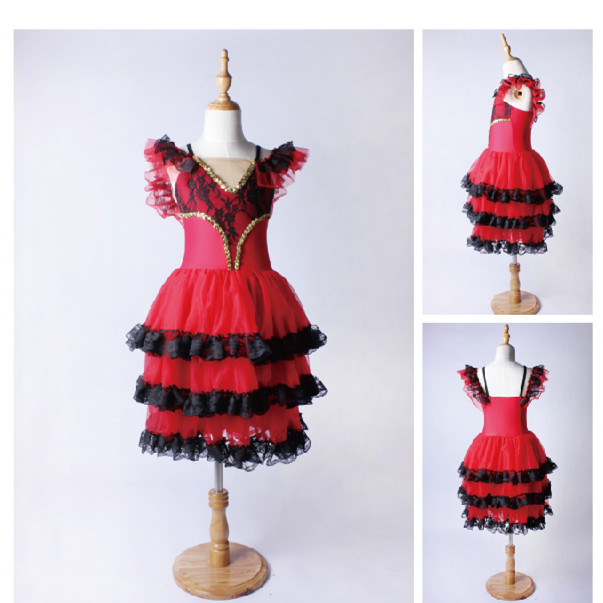 OCT1939 Hot sale Fairy Girl's Red tutu Kids Long Romantic Ballet Skirts Children Stage Dance Costumes TUTU Ballet