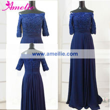 Navy blue real sample mother of the bride & groom dress