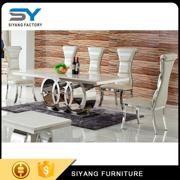 Simple designs 4 stainless steel legs marble top dining table CT005