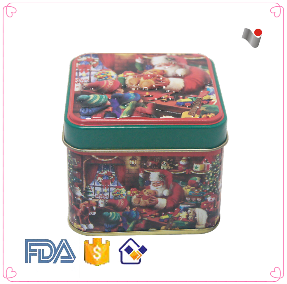Wholesale square christmas day gift tin can