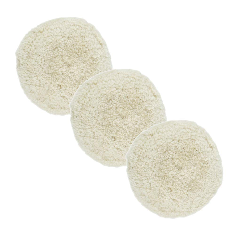 """Scorpiuse 3 Pack 8"""" Wool Buffing Pad for Compound Cutting & Polishing Woolen Velcro Polishing Waxing Pads Set Wool Hook and Loop (A)"""