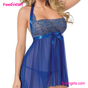 2016 Latest Customized See Through Sexy Nighty Babydoll Blue Lingerie