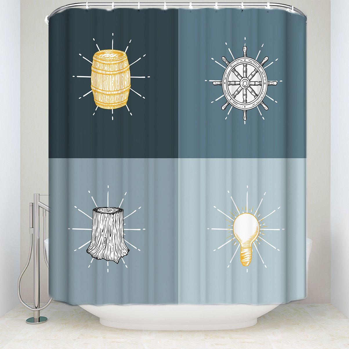 Get Quotations Vintage Style Shower Curtain Rudder Stump Light Print Waterproof Curtains For Bathroom