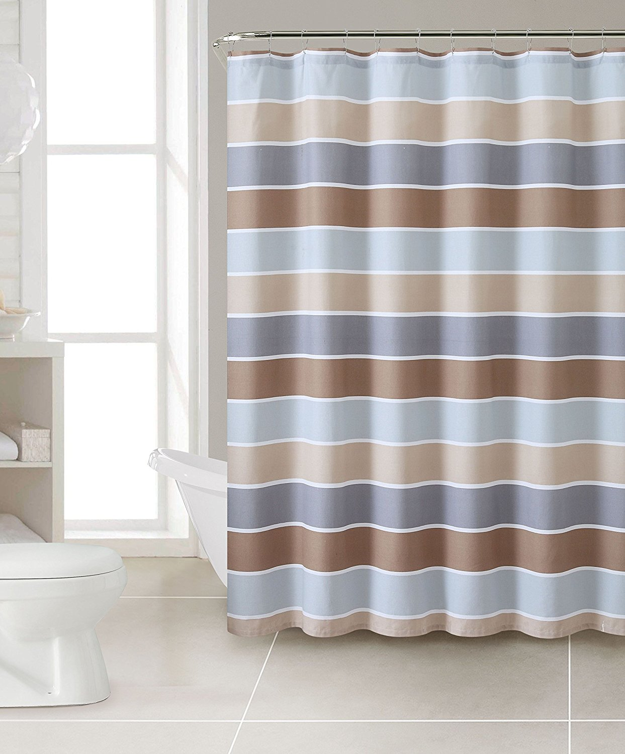 Get Quotations · Wholesalebeddings Cinder Brown Gray Teal Turquoise White  Striped 100% Cotton Fabric Shower Curtain