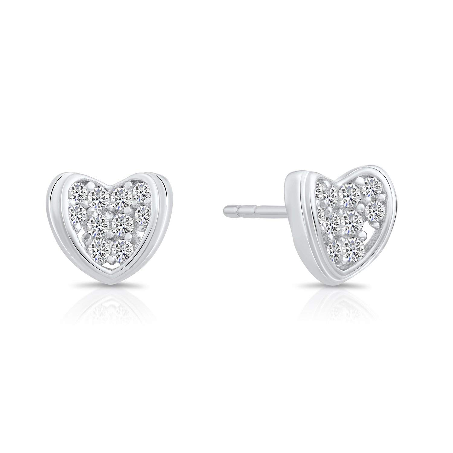 Get Quotations Tiny Sterling Silver Heart Shaped Stud Earrings With Cubic Zirconia