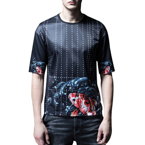 2019 new design crewneck blank back Lucky Koi Fish Printed Sublimation t shirt for men