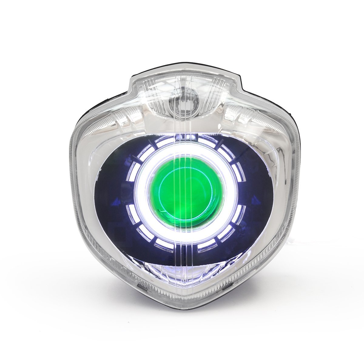 KT LED Angel Eye Headlight Assembly for Yamaha FZ6N 2004-2009 Green Demon Eye