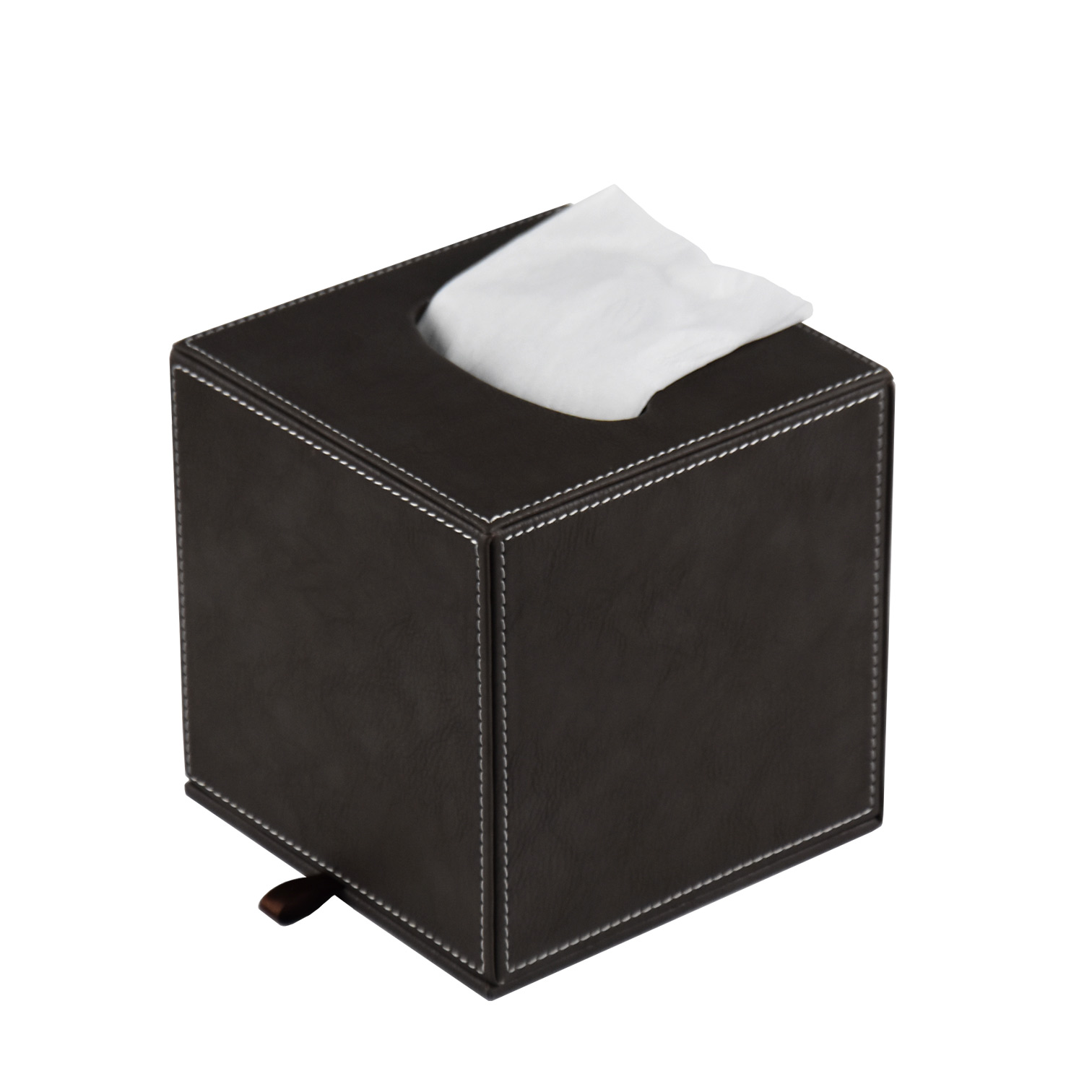 Custom logo home/hotel/office rectangle shape black faux leather cardboard tissue box