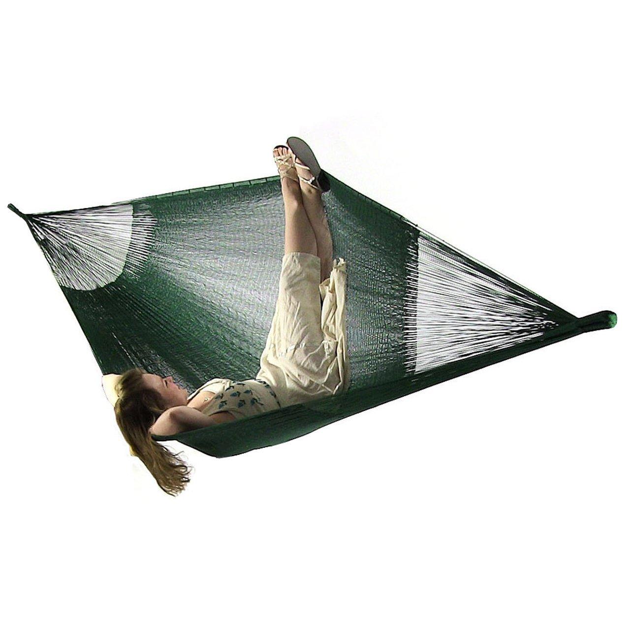 Sunnydaze Portable Mayan Hammock Hand-Woven, Family Size, 660 Pound Capacity, Green