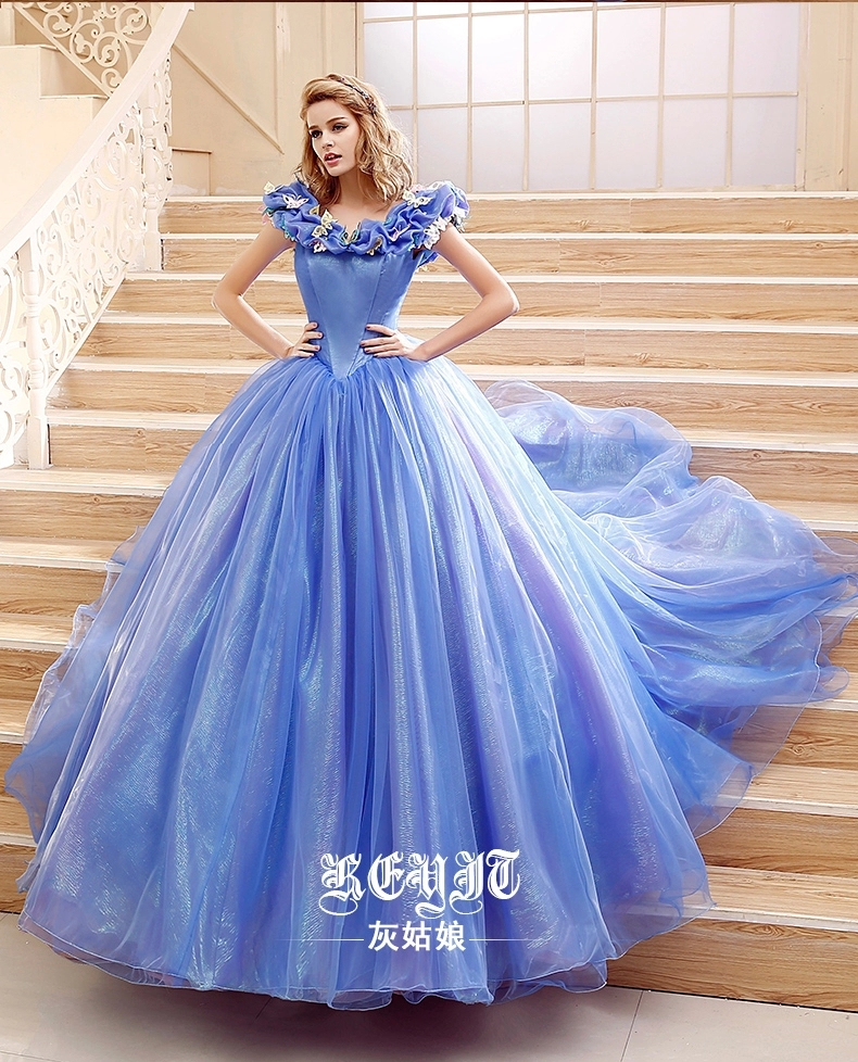 Princess Cinderella Wedding Dress Costume For: 2015 Movie Cinderella Dress Cinderella Wedding Dress Blue