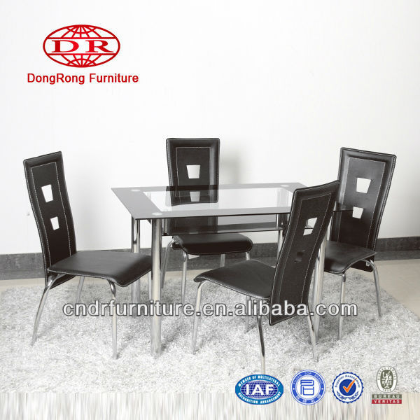 Modern dining table glass top and chairs