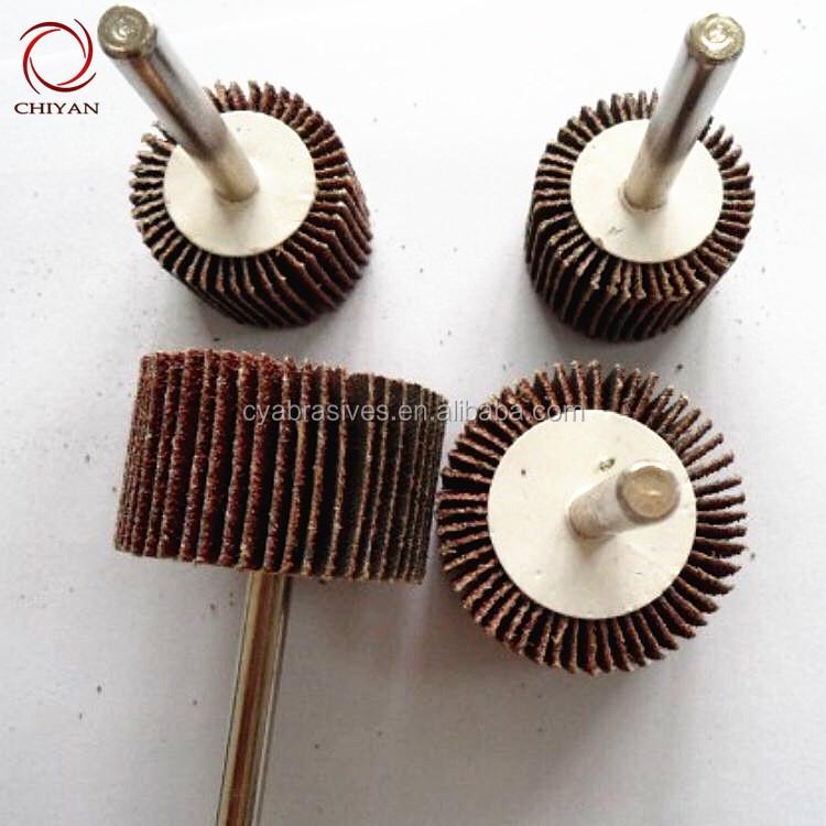 wood polishing brush tools abrasive flap wheel with shaft