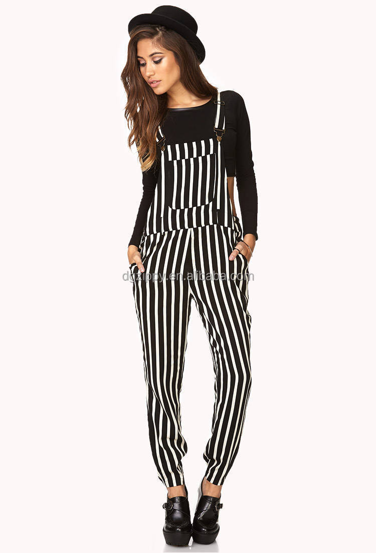 2014 Women Black/white Striped Overalls Design Women ...