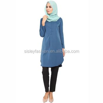 bc02a68caf51a0 New Fashion Muslim Tunic Tops muslim ladies tunic blouse tops Baju Melayu  Blouses for Women