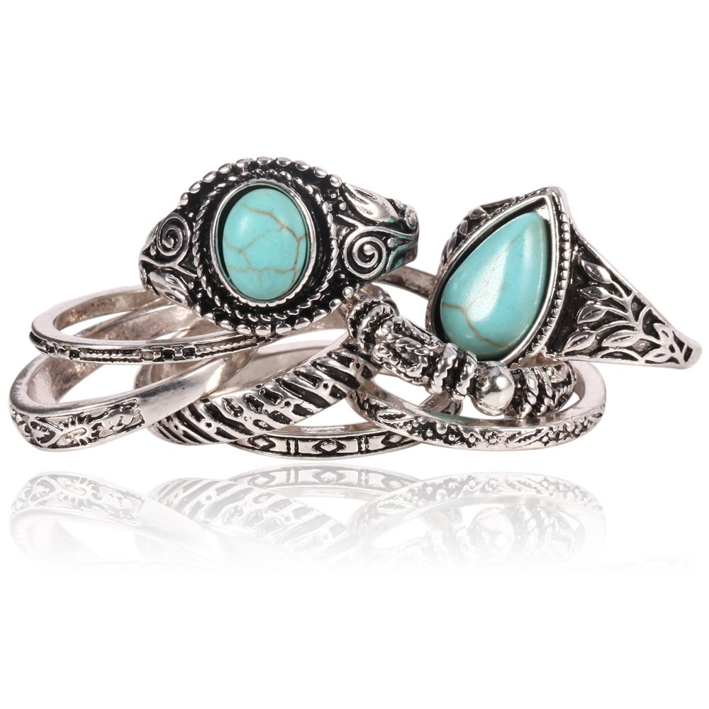 8pcs Set Women Rings Metal Turquoise Wedding Ring Set Wild Peace Inlay Vintage Fashion Jewelry Latest Rings For Women