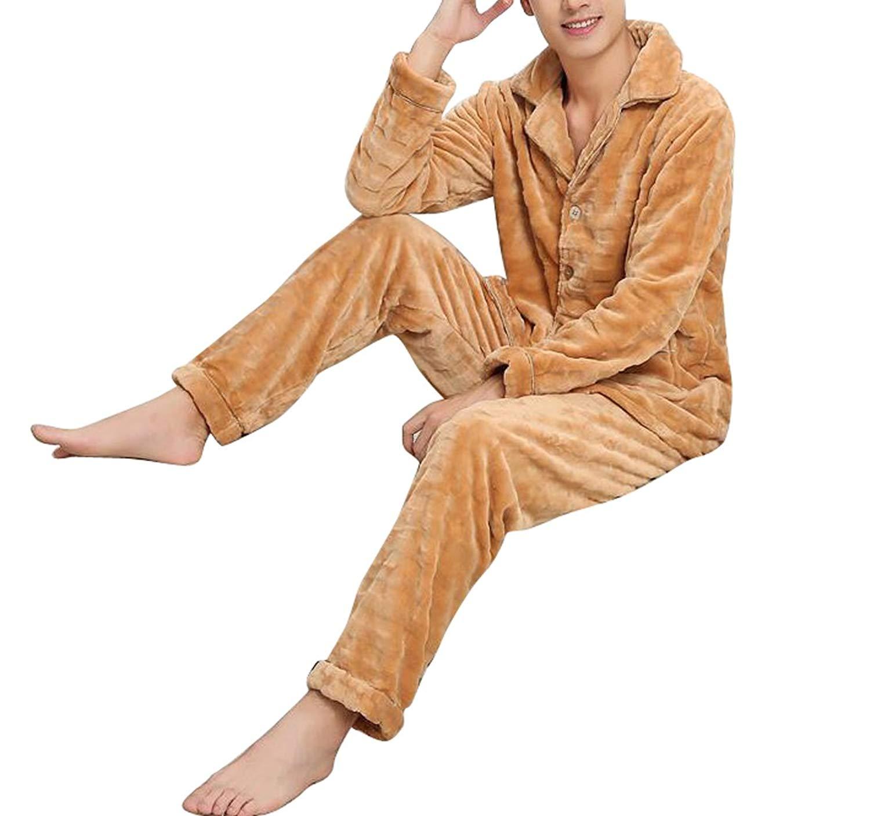 X-Future Mens Soft Silk Long Sleeve Lapel Solid Loungewear Pajama Set