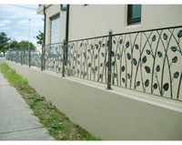 Customized forged iron fencing with leaf design