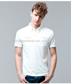9f364010 Men fashion white short sleeve breathable polo shirts with button-down  collar