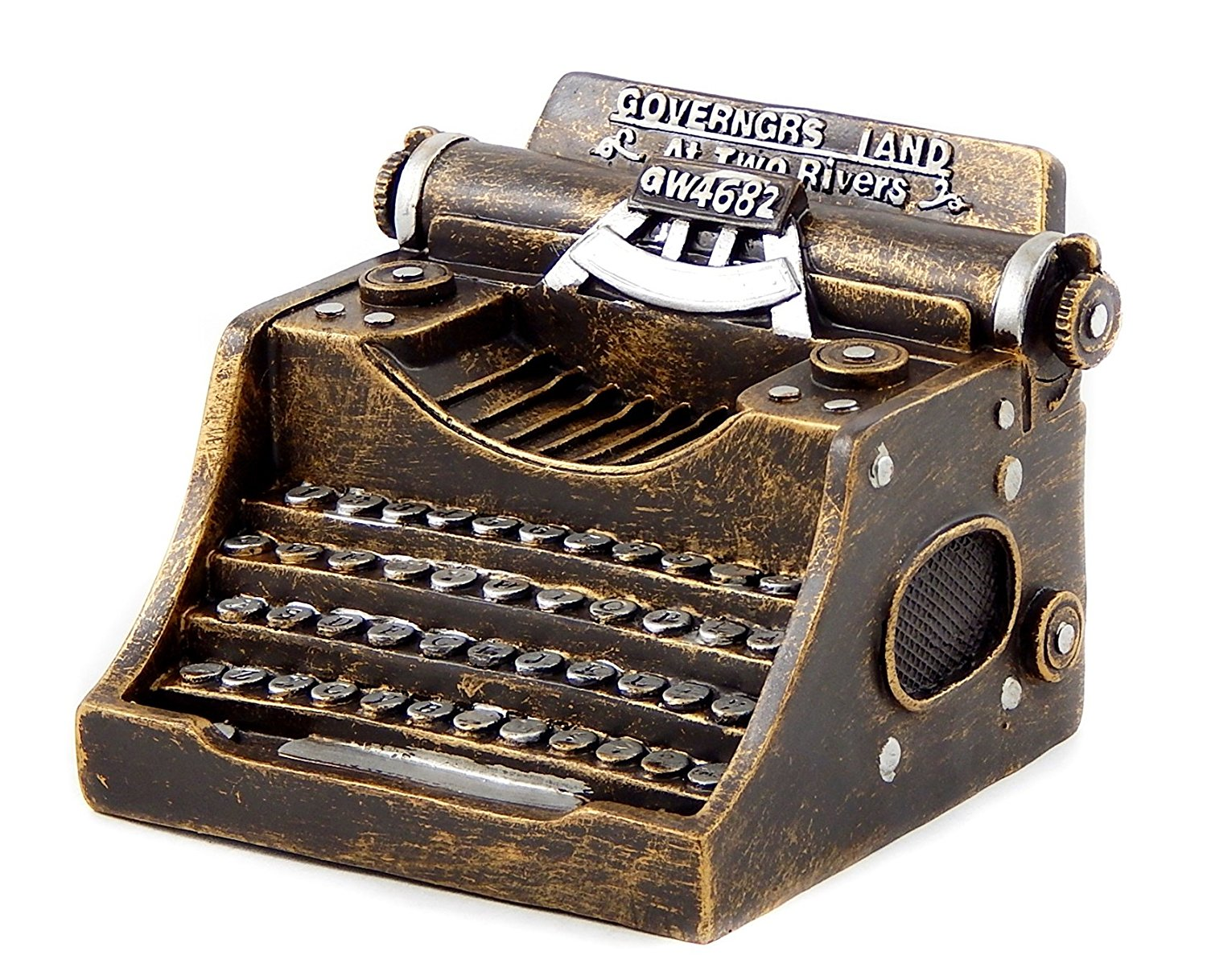 Get Quotations · Antiques Style Typewriter 5 Inches Money Piggy Bank Money  Box Gold