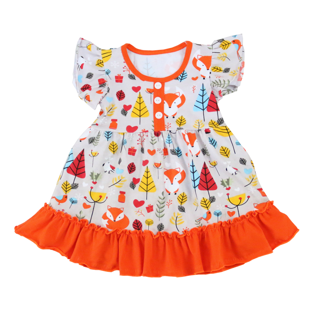 Feather Fox Elephant Print New Style Baby Girls Boutique Dresses Flutter Sleeve Smock Dress Wholesale Persnickety Remake Dresses