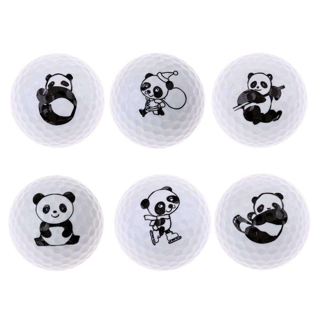 MonkeyJack Cute Panda Patterns Golf Practice Ball Synthetic Rubber Golf Ball for Golf Range, Indoor Outdoor Golf Training - Choice of Patterns and Quantity