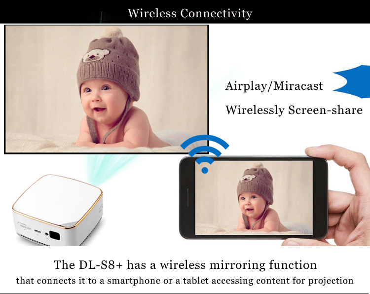 goshine Portable Mini DLP Projector WIFI Smart LED Projectors with Android 5.1 and bluetooth 4.1 DLP Projector