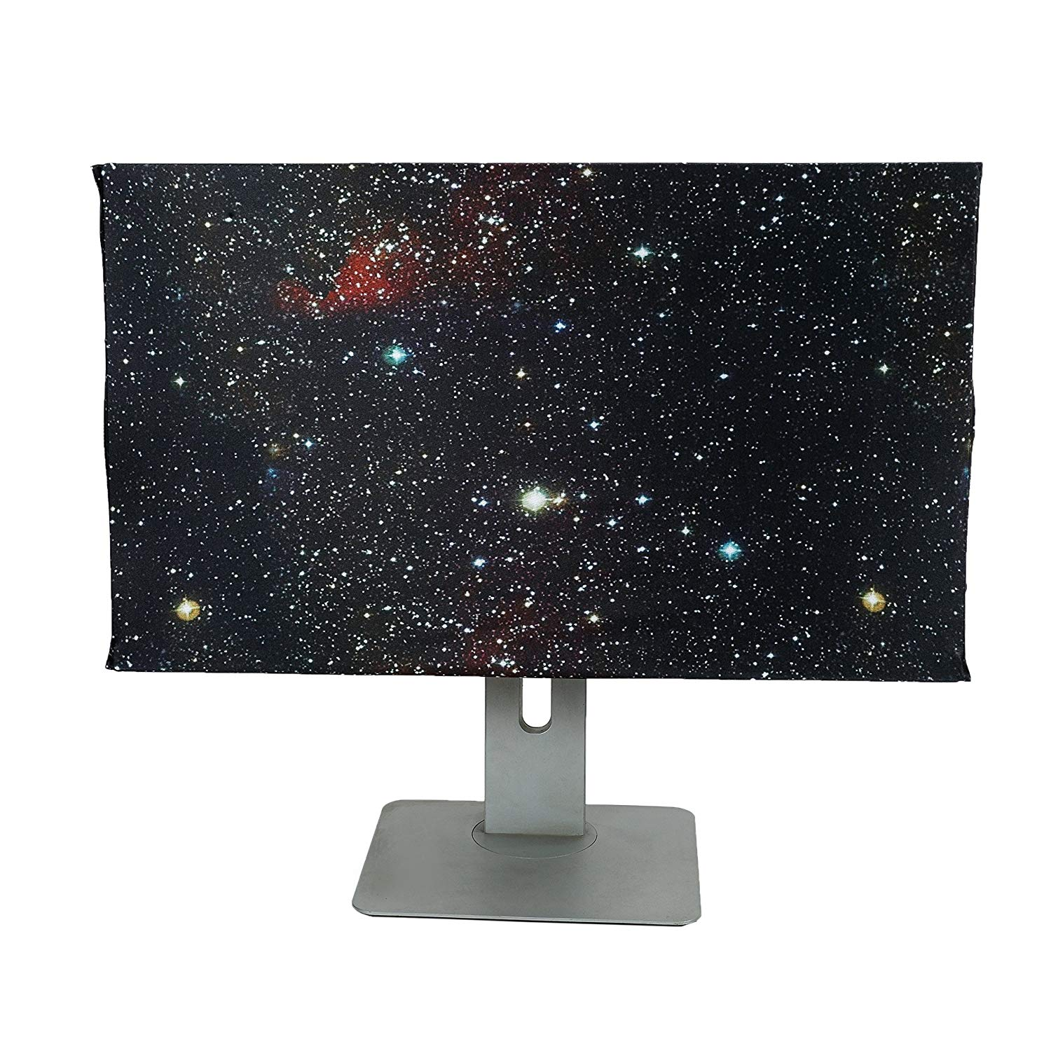 2 PCS Computer Monitor Dust Cover + Keyboard Dust Cover Adjustable Standard Size LCD Monitor Keyboards Silky Smooth Antistatic Vinyl Purple Blue Star Space Pattern DNZ02 (black)