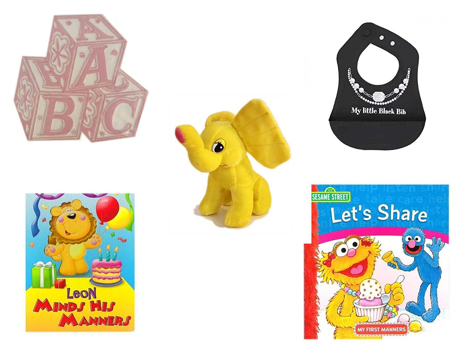 Children's Gift Bundle - Ages 0-2 [5 Piece] - ABC Baby Blocks Cake Topper Pink Girl - Ganz Baby Girl's My Little Black Bib Silicone Crumb Catcher - Yellow Elephant Plush - Leon Minds His Manners Bo
