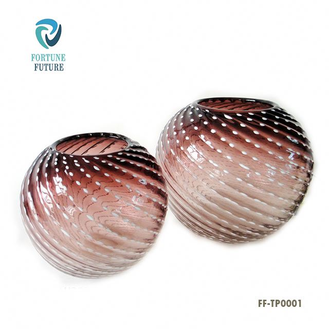 Wholesale Handblown Art Colored Round Bubble Glass Fish Bowls Vase For Table Decoration
