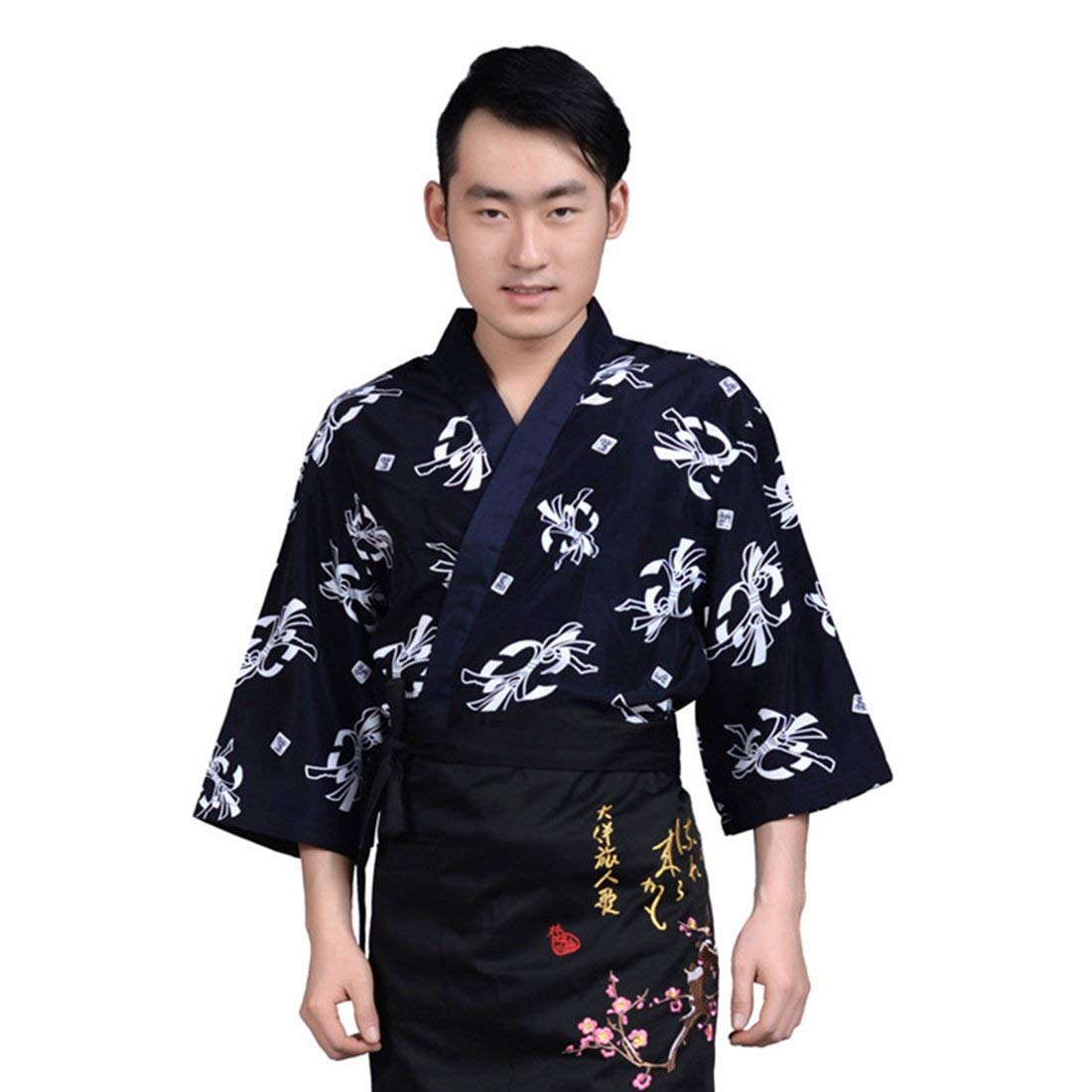 Jiyaru Unisex Sushi Chef Jacket Kimono Japanese Uniform Waiter Coat Workwear