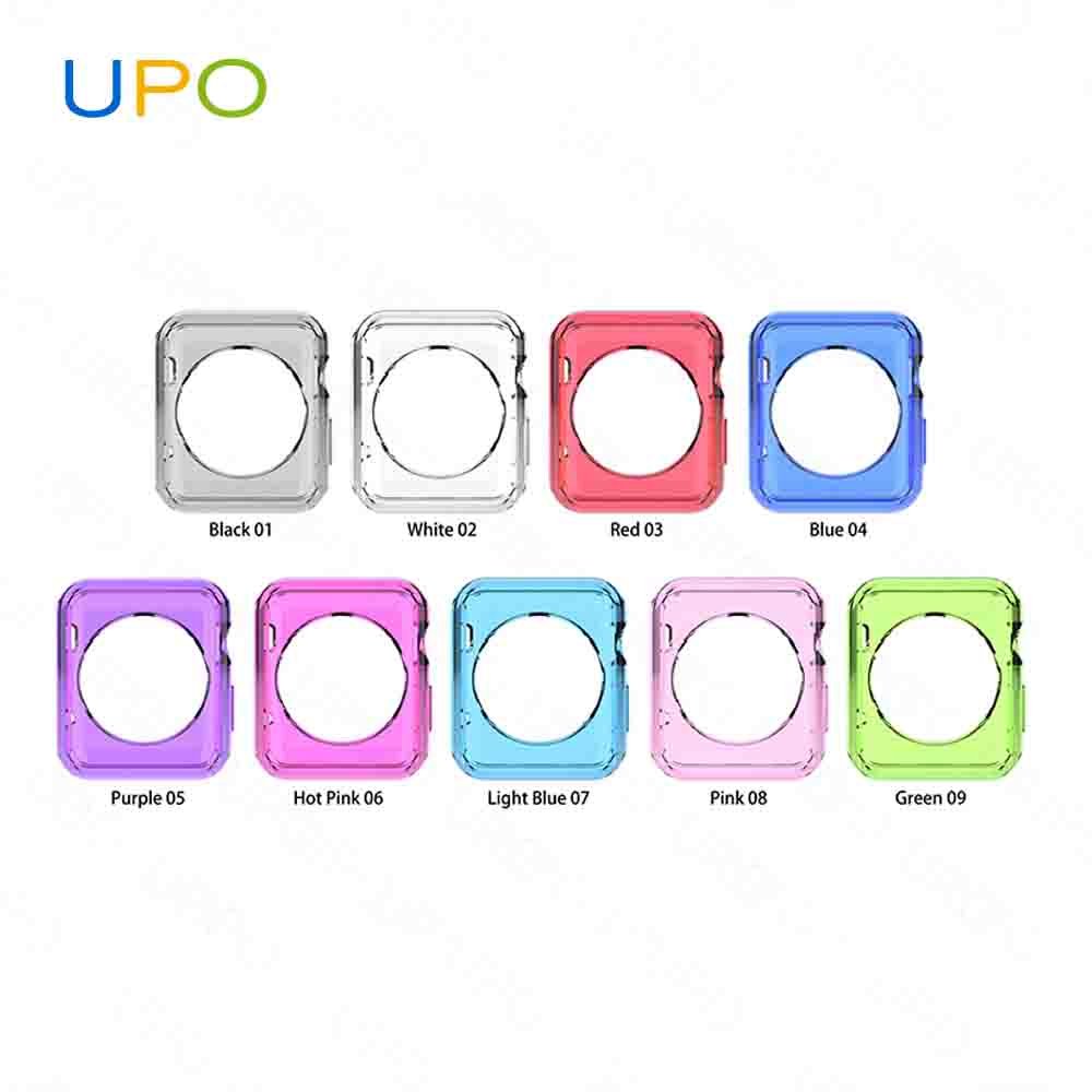 UPO] Best Selling 2017 Transparent Clear Soft TPU Hard Pc Case for Apple Watch Case 38mm 42mm