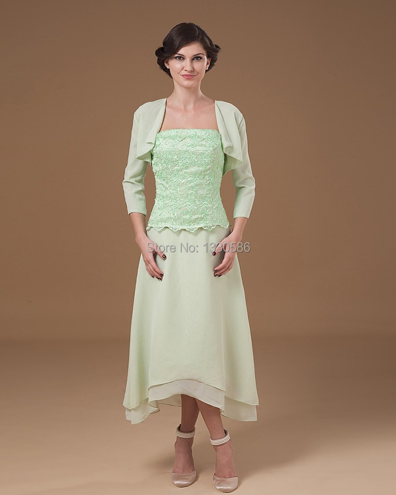2016 Wholesale Mint Chiffon Dresses With Jacket Mother Of