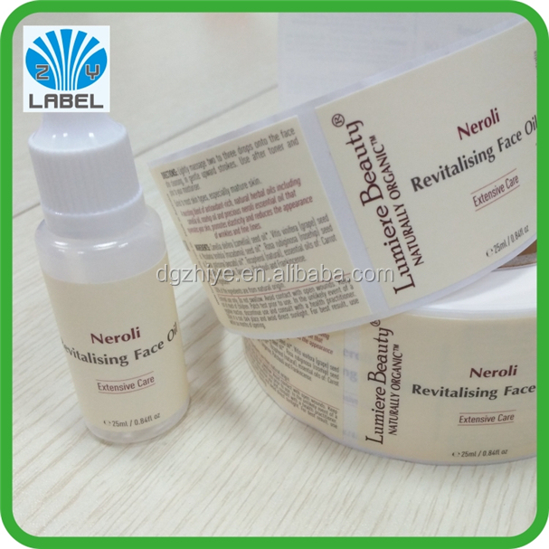 Cosmetic plastic small bottle packing labels in roll