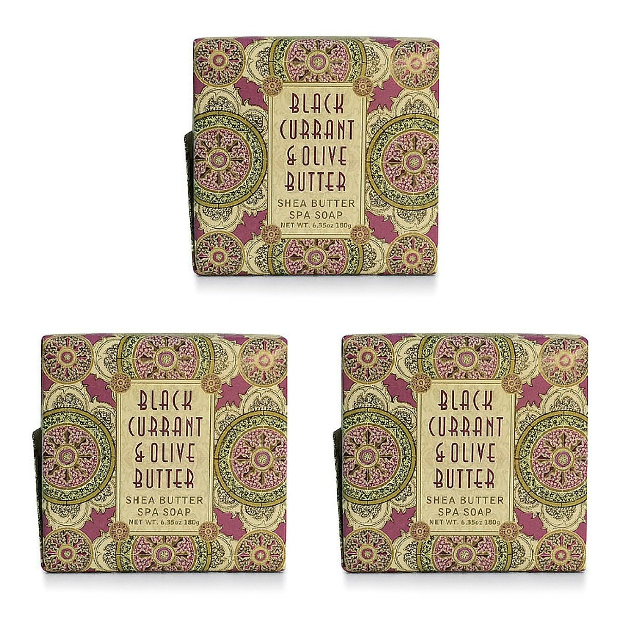 Greenwich Bay BLACK CURRANT OLIVE BUTTER Exfoliating Spa Soap, Enriched with Black Currant Butter, Olive Butter and Shea Butter. No Parabens 6.35 Oz. (3 Pack)