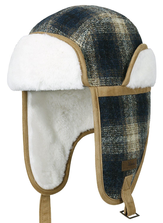 9c4435001eb55 ililily Howels Wool Plaid Pattern Aviator Trapper Trooper Faux Fur Ear  Flaps Hat