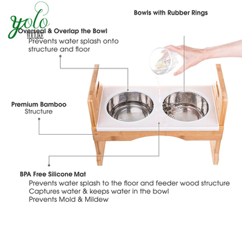 Adjustable Raised 3 Height Levels Bamboo Pet Dog Feeder Silicone Mat 4  Stainless Steel Bowls Elevated